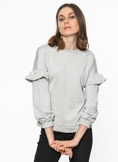Koton İnci Detaylı Sweatshirt Gri